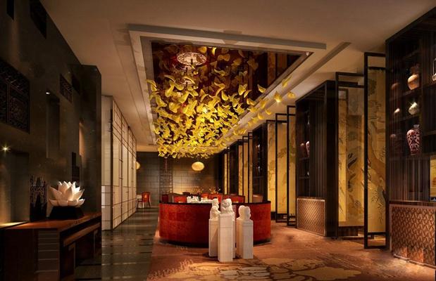 中式酒店大堂吧休息区3D模型【ID:47159022】
