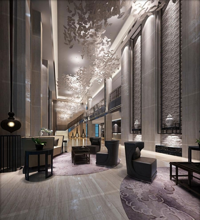 现代酒店大堂空间3D模型【ID:47159120】