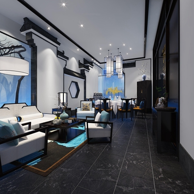 新中式酒楼餐厅包房3D模型【ID:47159126】