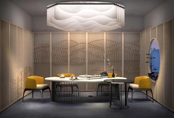 新中式酒店包房3D模型【ID:47159422】