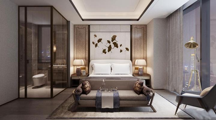 现代酒店会所客房套间3D模型【ID:47159423】