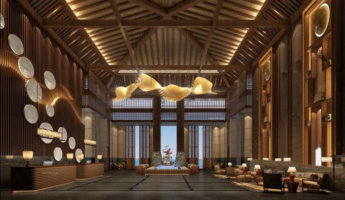 中式酒店大堂3d模型