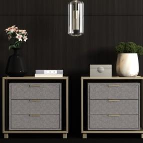 新中式金属床头柜3D模型【ID:928559699】