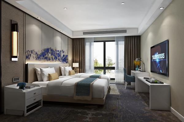 现代酒店客房双人标间3D模型【ID:47181361】