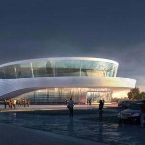 现代展厅建筑外观3D模型【ID:528011418】