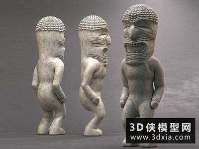 现代石材雕塑国外3D模型【ID:929555700】