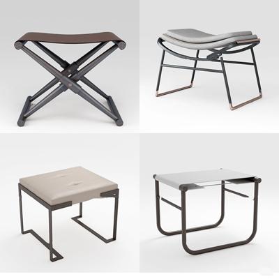 新中式凳子脚踏组合3d模型【ID:47203537】
