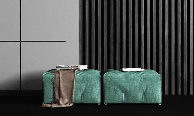 现代布艺沙发凳摆件组合3D模型【ID:47227530】