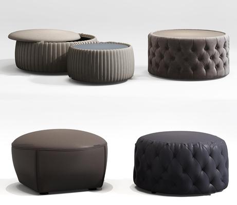 现代布艺皮革沙发凳组合3D模型【ID:47232331】