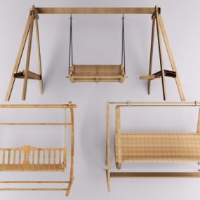 现代实木户外秋千椅3D模型【ID:328438370】