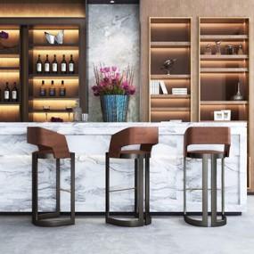 现代吧台酒柜组合3D模型【ID:327922159】