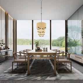 新中式茶室3D模型【ID:327935744】