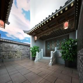 中式庭院3D模型【ID:628172806】