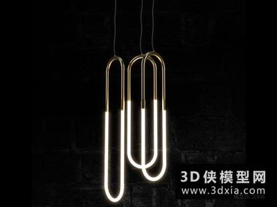 現代金属吊燈国外3D模型【ID:829420753】