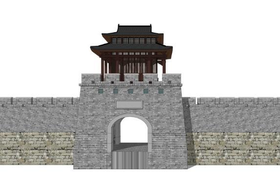 古建城門SU模型【ID:844982684】