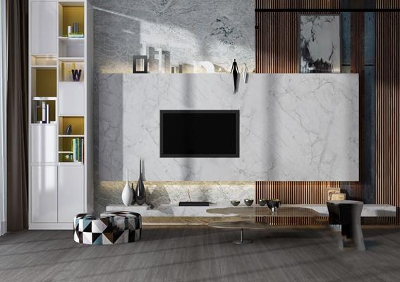 现代电视墙3D模型【ID:624892068】
