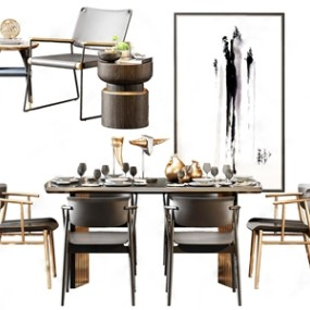 北欧轻奢餐桌椅茶几3D模型【ID:834830812】