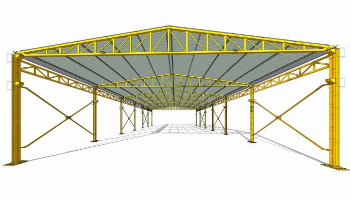 鋼結構框架工業廠房SU模型【ID:846369077】