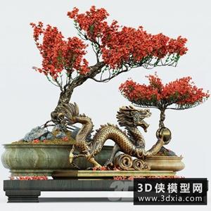 中式盆栽國外3D模型【ID:229459745】