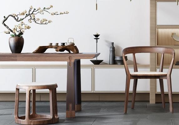 新中式禪意書桌椅3D模型【ID:327918707】