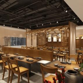 中式餐厅3D模型【ID:124893859】