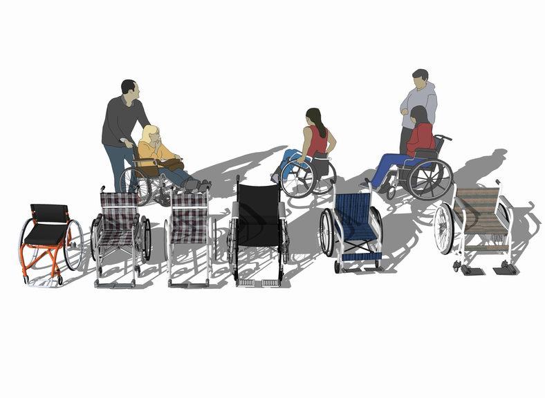 轮椅SU模型【ID:136376943】