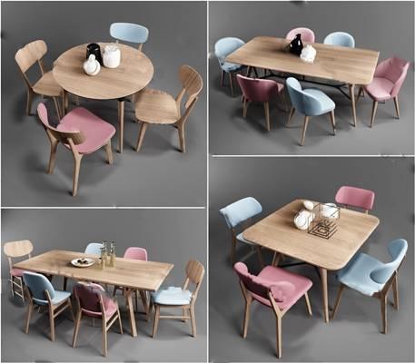 北欧餐桌椅组合3D模型下载【ID:319450499】