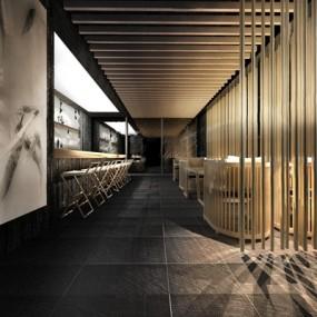 现代新中式餐饮店3D模型【ID:528018553】