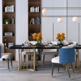 现代金属餐桌椅吊灯摆件组合3D模型【ID:327793481】