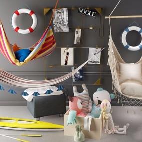 地中海吊床儿童毛绒玩具画框3D模型【ID:528274219】