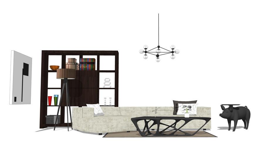 现代工业风客厅沙发茶几置物架落地灯组合SU模型【ID:736376686】