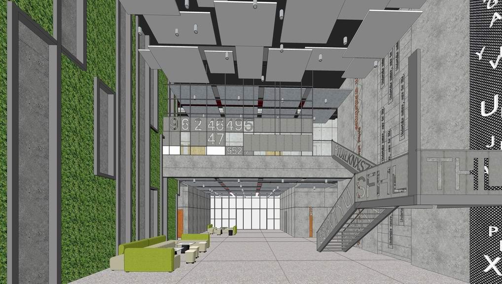現代工業風辦公大廳室內設計SU模型【ID:936376887】