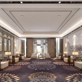 新中式贵宾接待室3D模型【ID:528011263】