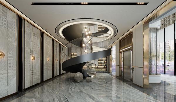 現代會所輕奢旋轉樓梯3D模型【ID:747041449】