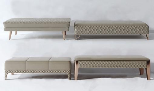 現代輕奢床尾凳3D模型【ID:428268338】