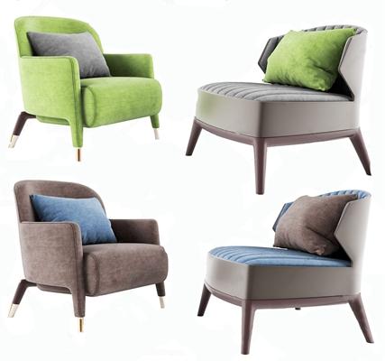 北欧单人休闲沙发3D模型【ID:928353628】