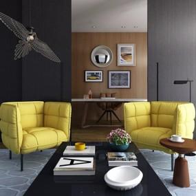 现代单人沙发组合3D模型【ID:928183666】