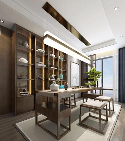 新中式茶室3D模型【ID:328246767】