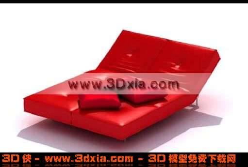 经典时尚的红色皮沙发双人床3D模型
