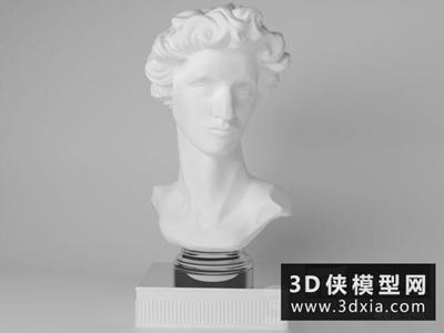石膏头像雕塑国外3D模型【ID:929408765】