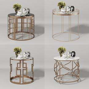 現代金屬圓幾邊幾花瓶擺件組合3D模型【ID:127752316】