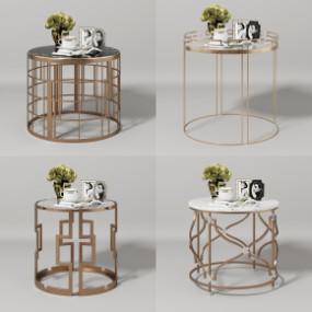 现代金属圆几边几花瓶摆件组合3D模型【ID:127752316】