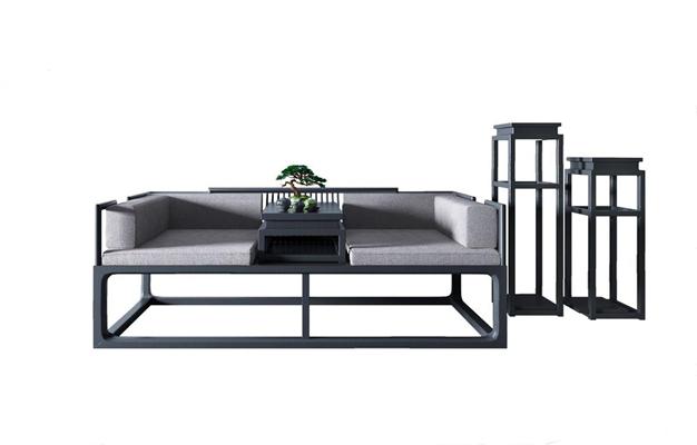 新中式床榻3D模型【ID:928179720】
