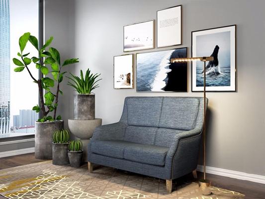 北欧沙发挂画植物组合3D模型【ID:928201774】