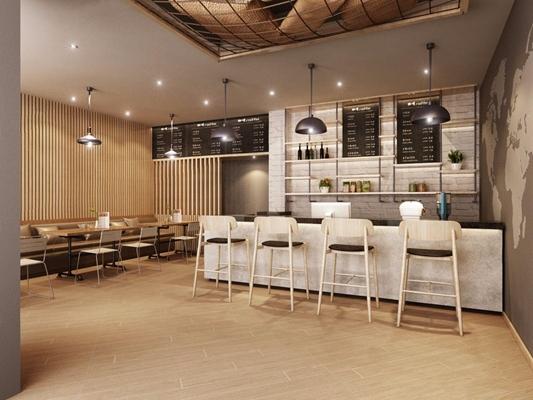 現代休閑咖啡廳3D模型【ID:328243660】