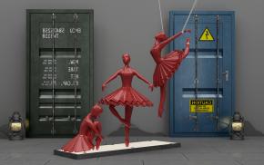工业风门舞蹈人物雕塑3D模型【ID:327784886】