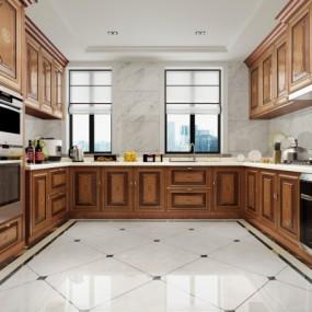 新中式厨房橱柜3D模型【ID:127772491】