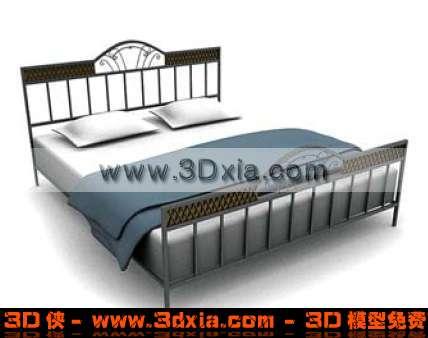 美观的双人床D模型3D模型【ID:497】