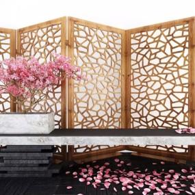新中式樱花树摆台屏风组合3D模型【ID:327927517】