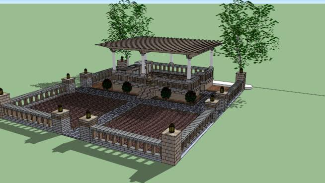 曼查硬質庭院SU模型【ID:439711095】